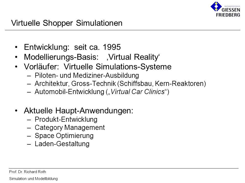 Prof. Dr. Richard Roth Simulation und Modellbildung Entwicklung: seit ca. 1995 Modellierungs-Basis: Virtual Reality Vorläufer: Virtuelle Simulations-S