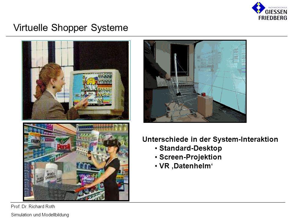 Prof. Dr. Richard Roth Simulation und Modellbildung Unterschiede in der System-Interaktion Standard-Desktop Screen-Projektion VR Datenhelm Virtuelle S