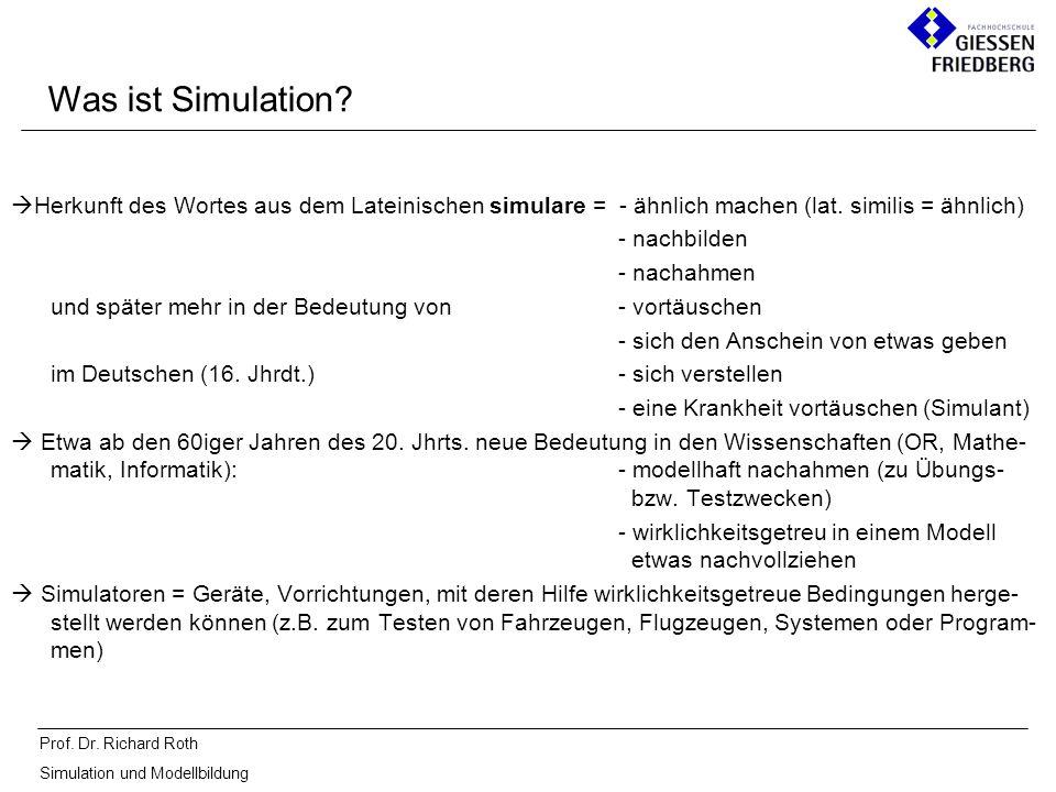 Prof. Dr. Richard Roth Simulation und Modellbildung Was ist Simulation? Herkunft des Wortes aus dem Lateinischen simulare = - ähnlich machen (lat. sim