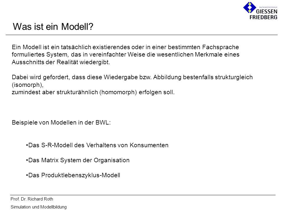 Prof. Dr. Richard Roth Simulation und Modellbildung Ein Modell ist ein tatsächlich existierendes oder in einer bestimmten Fachsprache formuliertes Sys