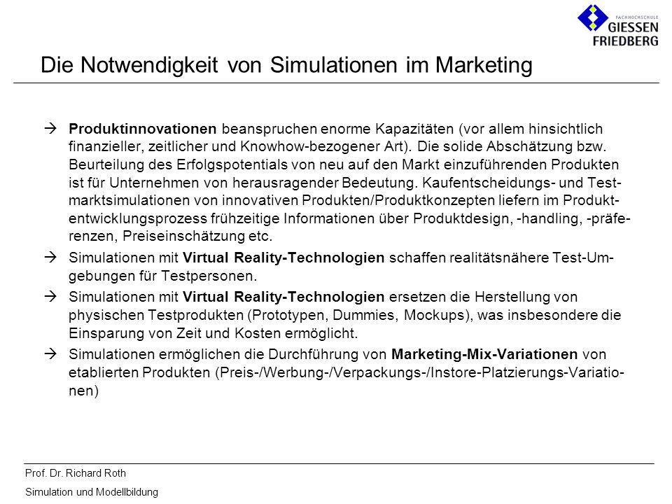 Prof. Dr. Richard Roth Simulation und Modellbildung Die Notwendigkeit von Simulationen im Marketing Produktinnovationen beanspruchen enorme Kapazitäte