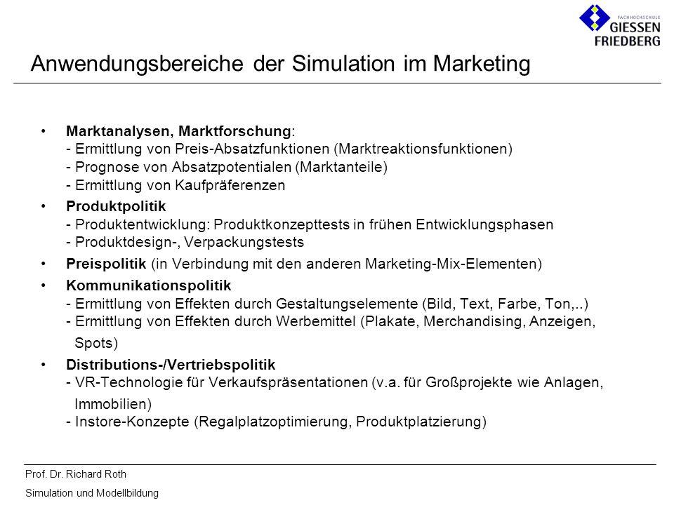 Prof. Dr. Richard Roth Simulation und Modellbildung Marktanalysen, Marktforschung: - Ermittlung von Preis-Absatzfunktionen (Marktreaktionsfunktionen)