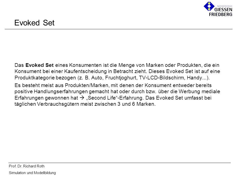 Prof. Dr. Richard Roth Simulation und Modellbildung Evoked Set Das Evoked Set eines Konsumenten ist die Menge von Marken oder Produkten, die ein Konsu