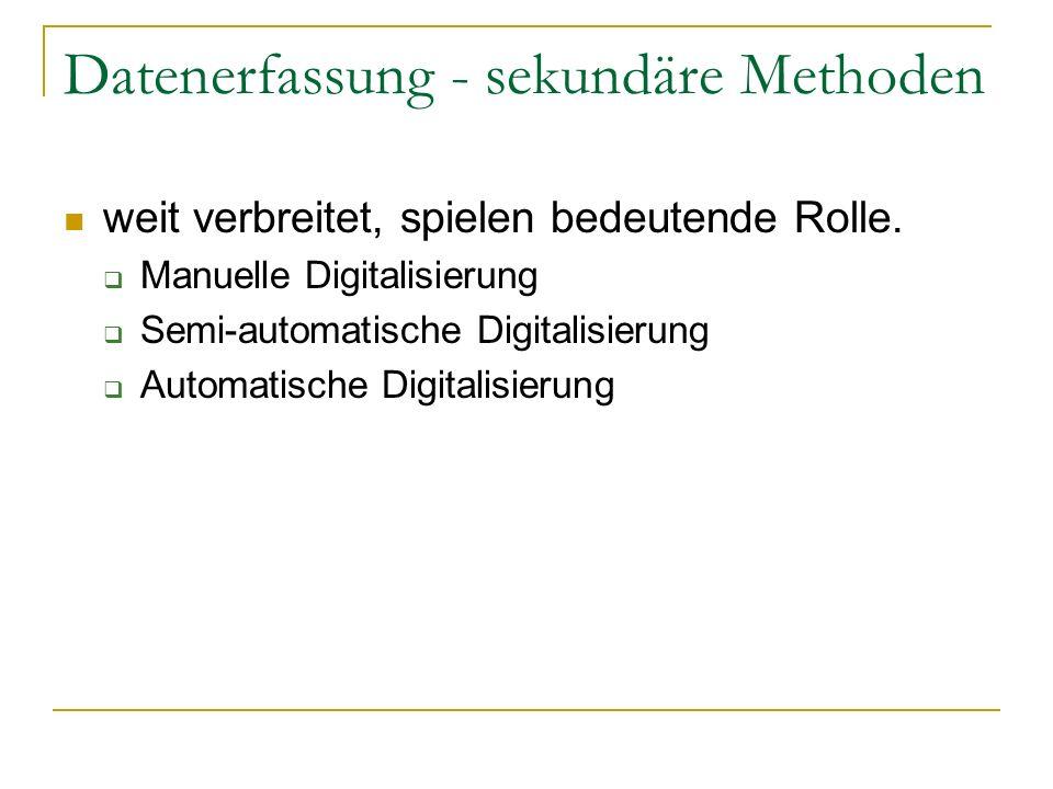 Datenerfassung - sekundäre Methoden weit verbreitet, spielen bedeutende Rolle. Manuelle Digitalisierung Semi-automatische Digitalisierung Automatische