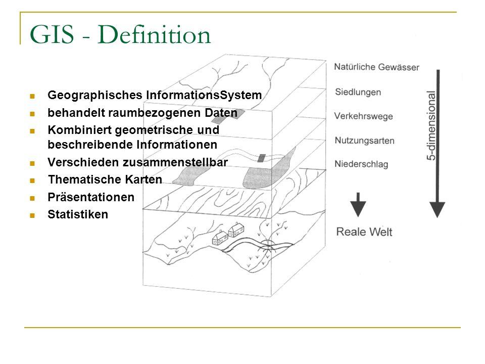 GIS - Definition Geographisches InformationsSystem behandelt raumbezogenen Daten Kombiniert geometrische und beschreibende Informationen Verschieden z