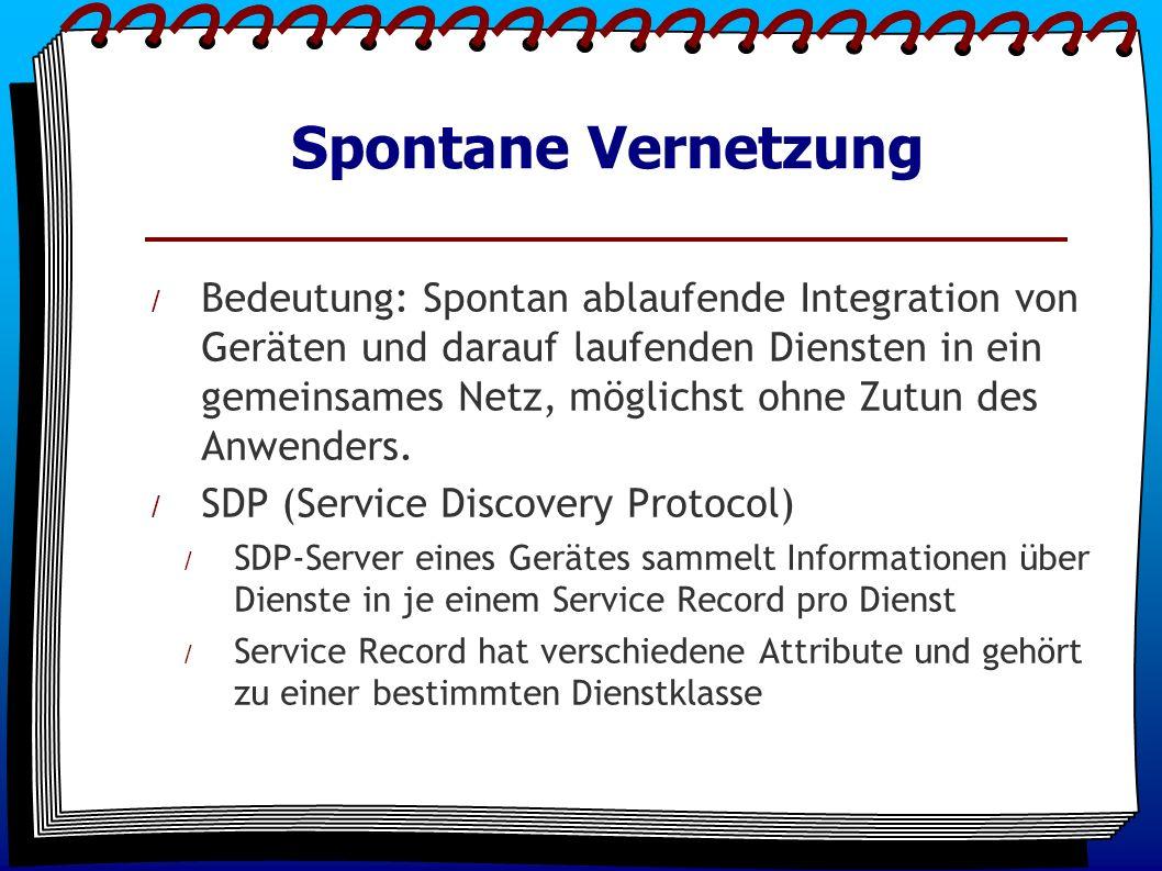 Spontane Vernetzung / Bedeutung: Spontan ablaufende Integration von Geräten und darauf laufenden Diensten in ein gemeinsames Netz, möglichst ohne Zutun des Anwenders.