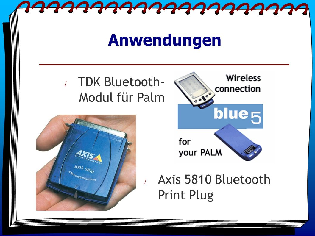 Anwendungen / TDK Bluetooth- Modul für Palm / Axis 5810 Bluetooth Print Plug