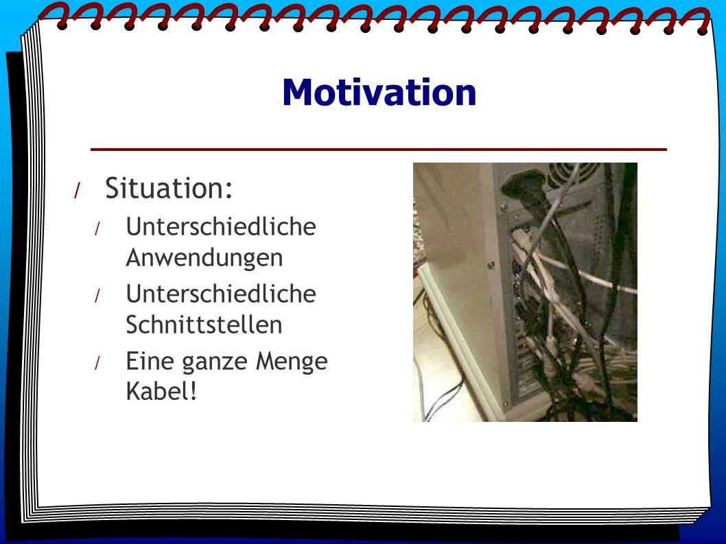 Motivation / Situation: / Unterschiedliche Anwendungen / Unterschiedliche Schnittstellen / Eine ganze Menge Kabel!