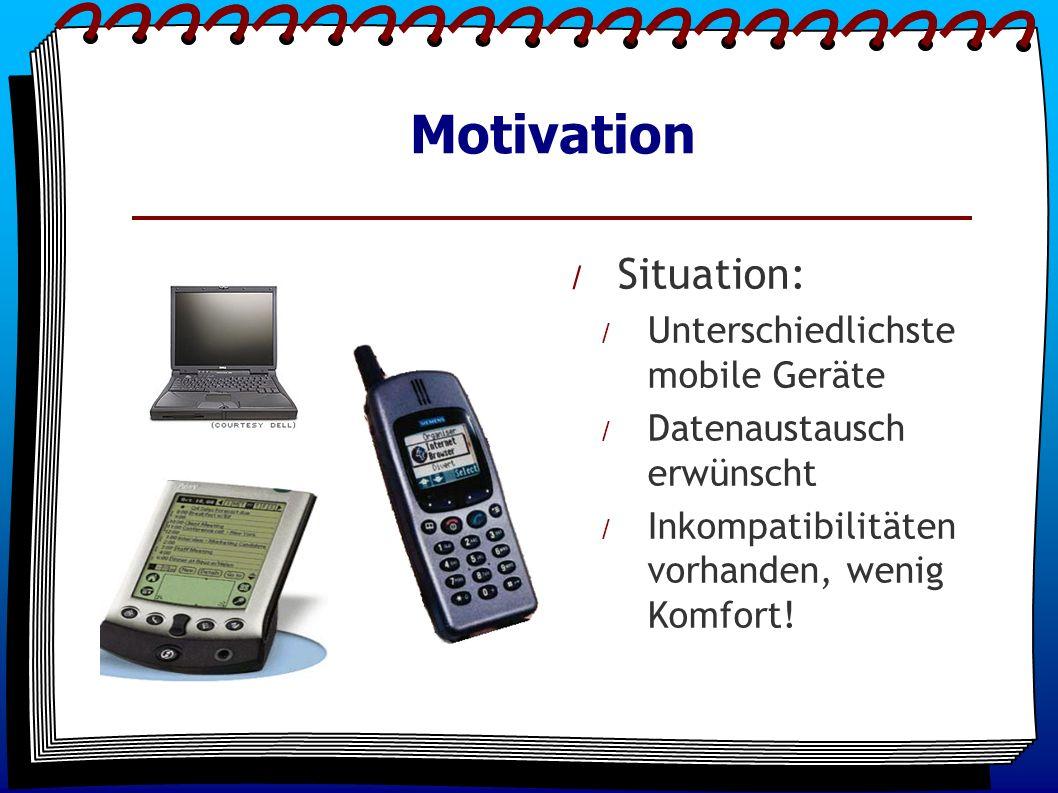 Motivation / Situation: / Unterschiedlichste mobile Geräte / Datenaustausch erwünscht / Inkompatibilitäten vorhanden, wenig Komfort!
