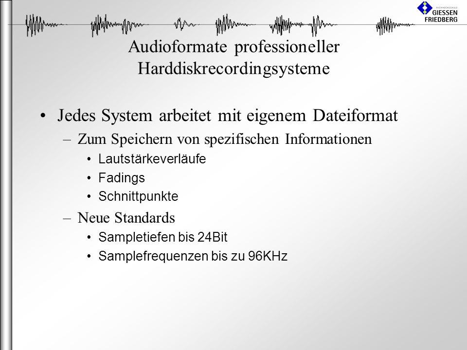 Audioformate professioneller Harddiskrecordingsysteme Jedes System arbeitet mit eigenem Dateiformat –Zum Speichern von spezifischen Informationen Lautstärkeverläufe Fadings Schnittpunkte –Neue Standards Sampletiefen bis 24Bit Samplefrequenzen bis zu 96KHz