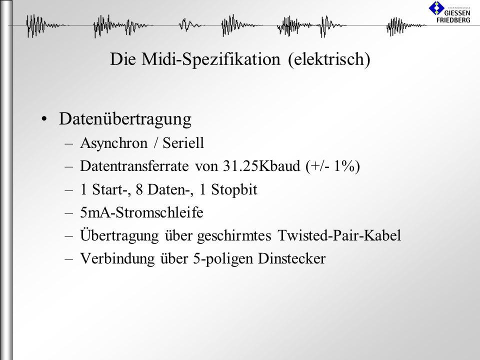 Die Midi-Spezifikation (elektrisch) Datenübertragung –Asynchron / Seriell –Datentransferrate von 31.25Kbaud (+/- 1%) –1 Start-, 8 Daten-, 1 Stopbit –5mA-Stromschleife –Übertragung über geschirmtes Twisted-Pair-Kabel –Verbindung über 5-poligen Dinstecker