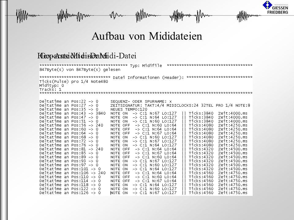Aufbau von Mididateien Hex-Ansicht einer Midi-DateiGeparste Midi-Datei