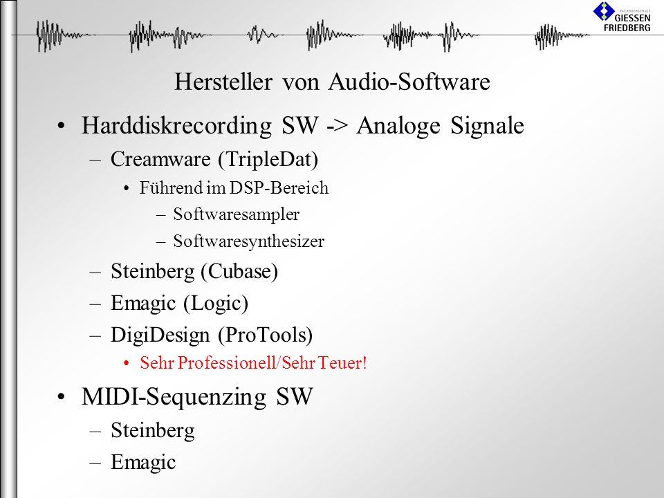 Hersteller von Audio-Software Harddiskrecording SW -> Analoge Signale –Creamware (TripleDat) Führend im DSP-Bereich –Softwaresampler –Softwaresynthesizer –Steinberg (Cubase) –Emagic (Logic) –DigiDesign (ProTools) Sehr Professionell/Sehr Teuer.