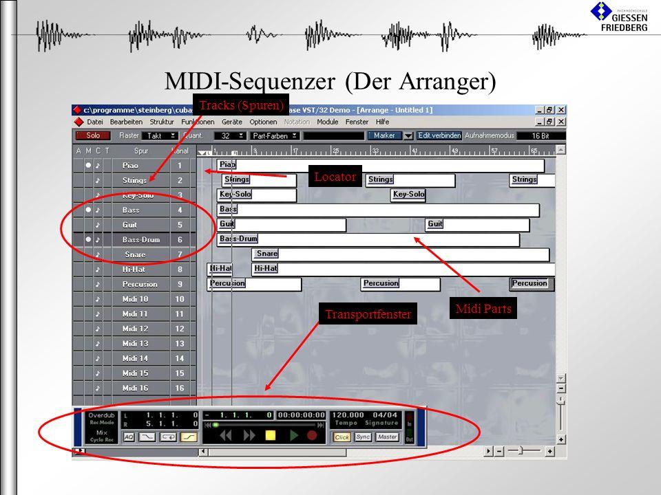 MIDI-Sequenzer (Der Arranger) Tracks (Spuren) Midi Parts Transportfenster Locator