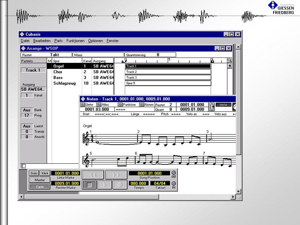 MIDI-Sequenzer (Notenbearbeitung) Ermöglicht effektives Komponieren Nachbearbeitungsmöglichkeiten Verschiedene Darstellungsmöglichkeiten –Noten-Editor –Grid-Editor (Drum-Editor) –Notenlängen-Editor –Midi-Editor Ermöglicht sauberen Notendruck