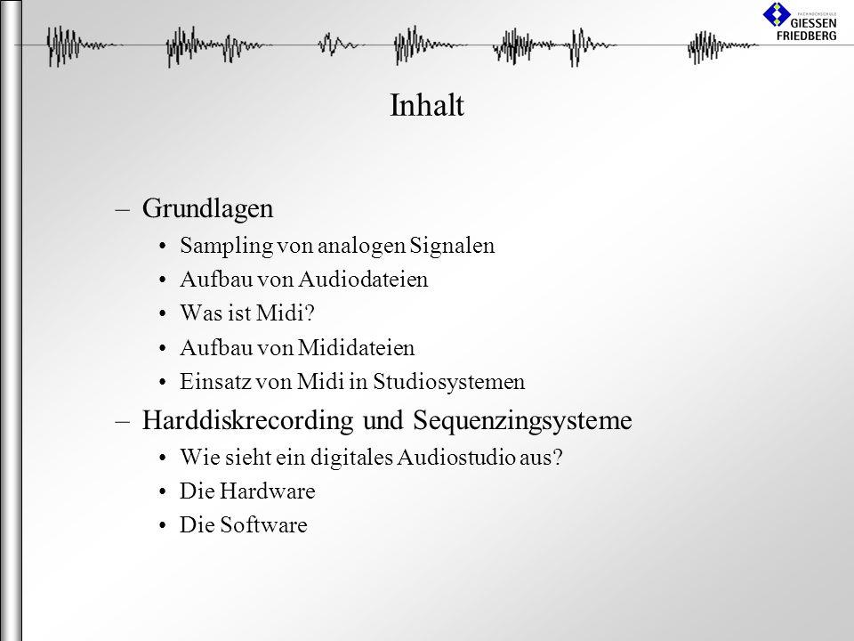 Inhalt –Grundlagen Sampling von analogen Signalen Aufbau von Audiodateien Was ist Midi.