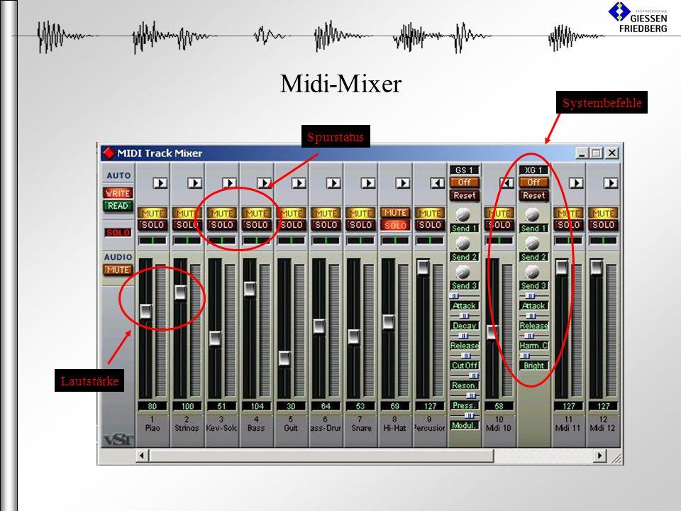 Midi-Mixer Lautstärke Spurstatus Systembefehle
