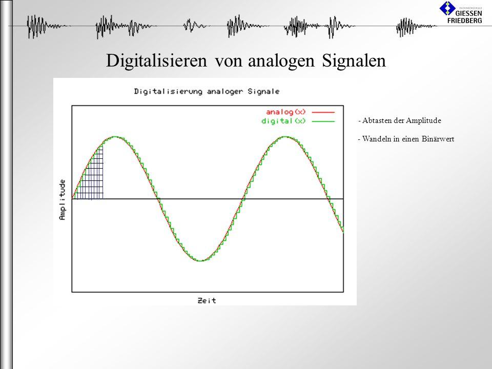 Digitalisieren von analogen Signalen - Abtasten der Amplitude - Wandeln in einen Binärwert