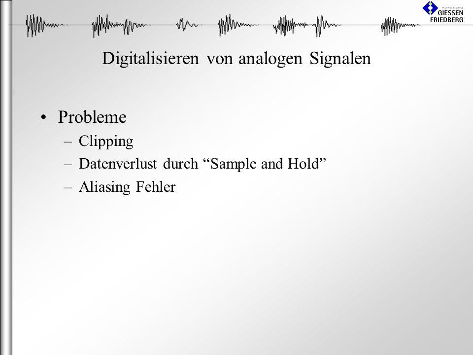 Digitalisieren von analogen Signalen Probleme –Clipping –Datenverlust durch Sample and Hold –Aliasing Fehler