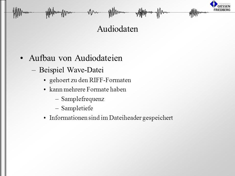 Audiodaten Aufbau von Audiodateien –Beispiel Wave-Datei gehoert zu den RIFF-Formaten kann mehrere Formate haben –Samplefrequenz –Sampletiefe Informationen sind im Dateiheader gespeichert
