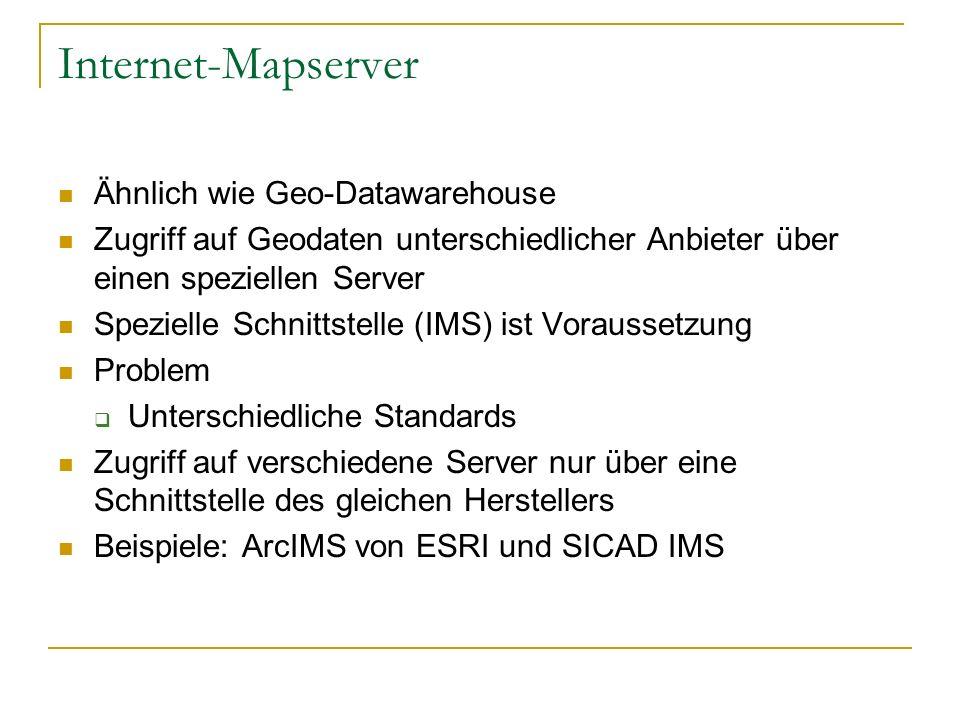 Internet-Mapserver Ähnlich wie Geo-Datawarehouse Zugriff auf Geodaten unterschiedlicher Anbieter über einen speziellen Server Spezielle Schnittstelle (IMS) ist Voraussetzung Problem Unterschiedliche Standards Zugriff auf verschiedene Server nur über eine Schnittstelle des gleichen Herstellers Beispiele: ArcIMS von ESRI und SICAD IMS