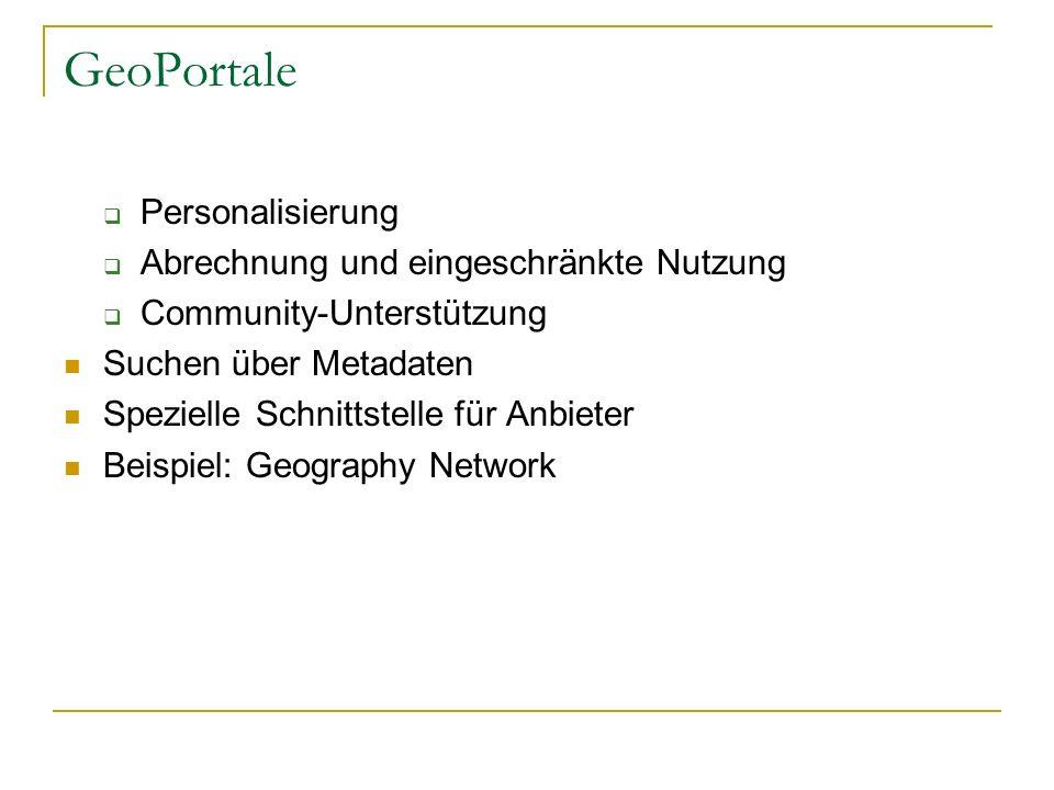GeoPortale Personalisierung Abrechnung und eingeschränkte Nutzung Community-Unterstützung Suchen über Metadaten Spezielle Schnittstelle für Anbieter Beispiel: Geography Network