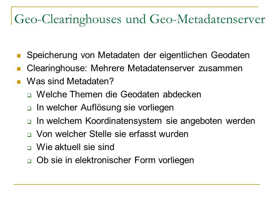 Geo-Clearinghouses und Geo-Metadatenserver Probleme Unterschiedliche Standards Meistens ungeeignete Formate Kein direkter Download der eigentliche Geodaten möglich Keine sehr breite Erfassung Beispiel: National Geospatial Data Clearinghouse (USA)