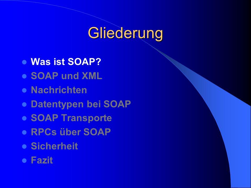 SOAP Nachrichten Struktur SOAP envelope SOAP header Header block SOAP body Message body