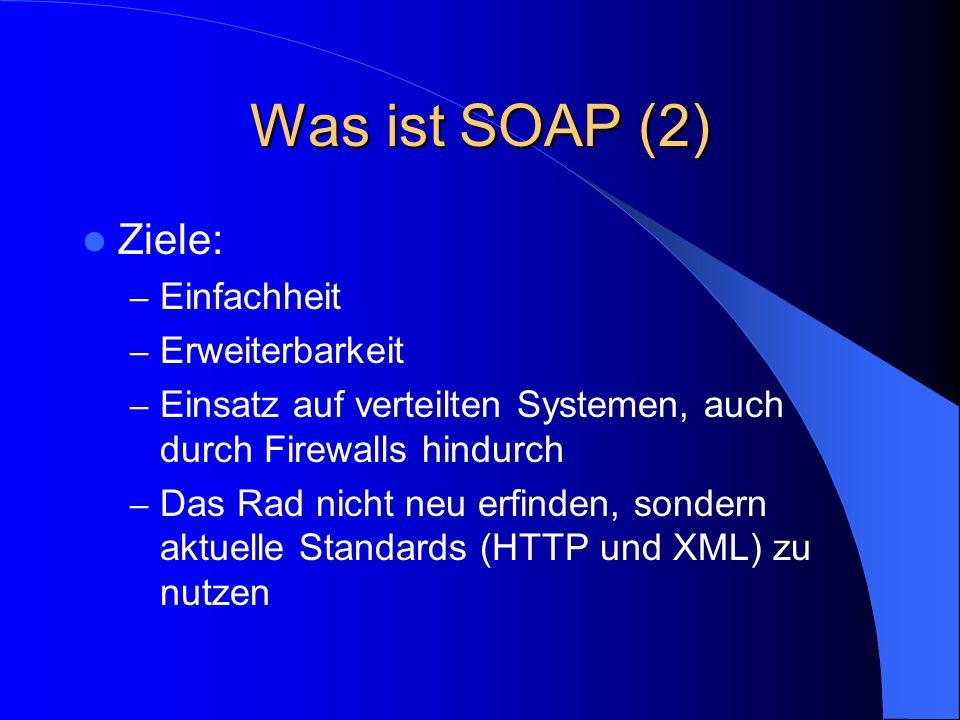 Ein möglicher Fehlerfall 200 OK Content-Type: text/xml Content-Length: 152 http://schemas.xmlsoap.org/soap/envelope/ 200 Must Understand Error Object not installed on server