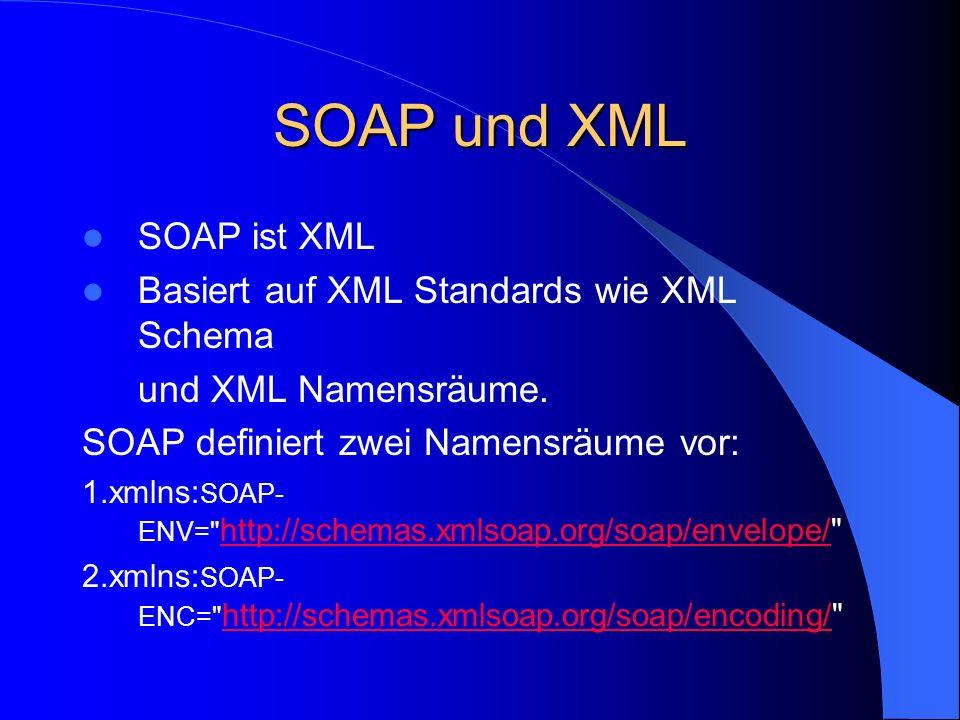 Funktionale Vorteile von SOAP Programmiersprachenunabhängig Betriebssystemunabhängig Plattformunabhängig Keine Beeinträchtigung durch Firewalls Breite Unterstützung, weil viele große Firmen an der Entwicklung mitarbeiten.