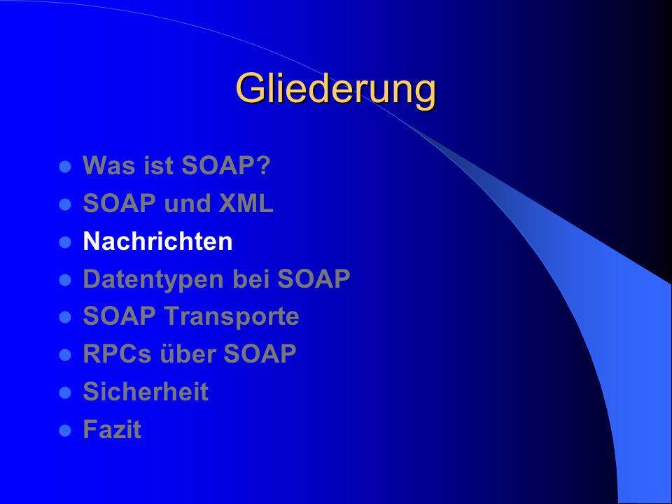 Technische Vorteile von SOAP Einfache Technologie Erweiterbar Benutzt industrieweite Standards: XML, HTTP, SMTP, FTP Stellt die Trennung von Inhalt und Struktur sicher