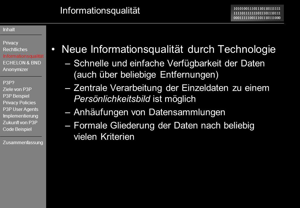101010011101110110111111 111101111111011101110111 000111110011101110111000 Informationsqualität Neue Informationsqualität durch Technologie –Schnelle