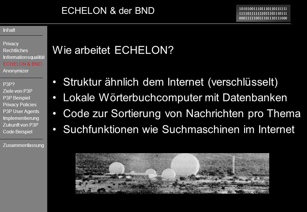 101010011101110110111111 111101111111011101110111 000111110011101110111000 ECHELON & der BND Wie arbeitet ECHELON? Struktur ähnlich dem Internet (vers