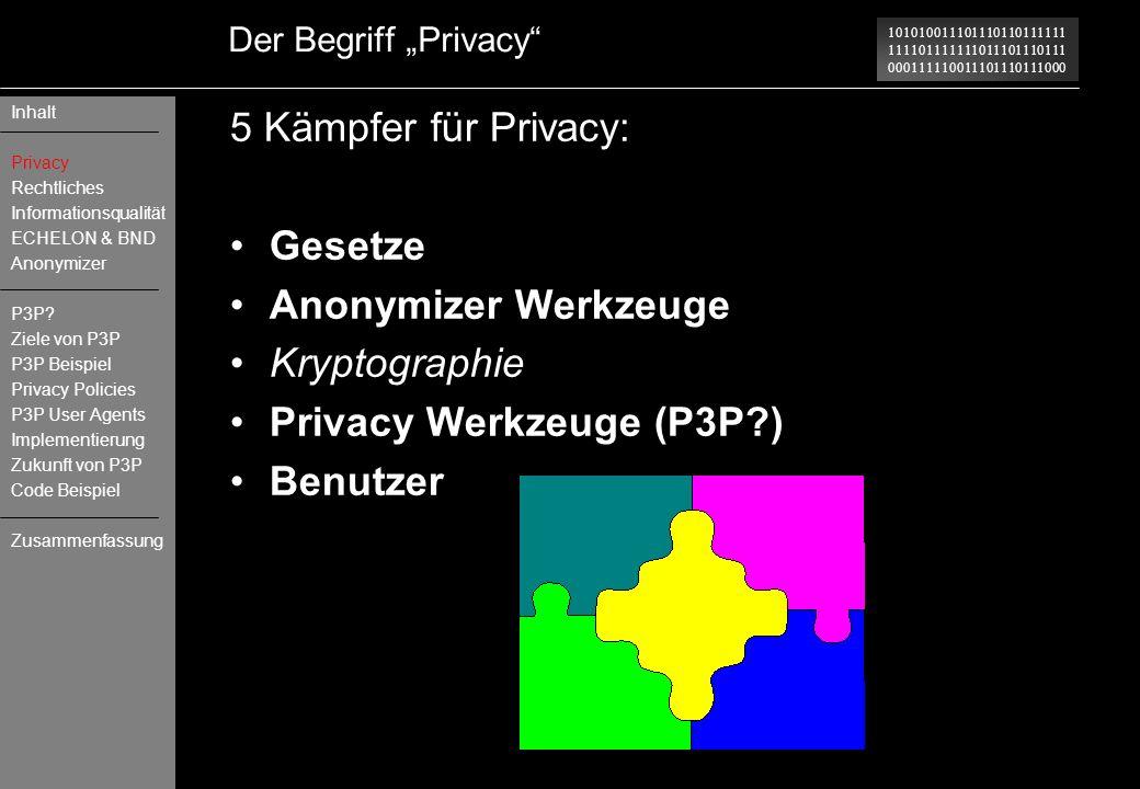 101010011101110110111111 111101111111011101110111 000111110011101110111000 Der Begriff Privacy 5 Kämpfer für Privacy: Gesetze Anonymizer Werkzeuge Kry