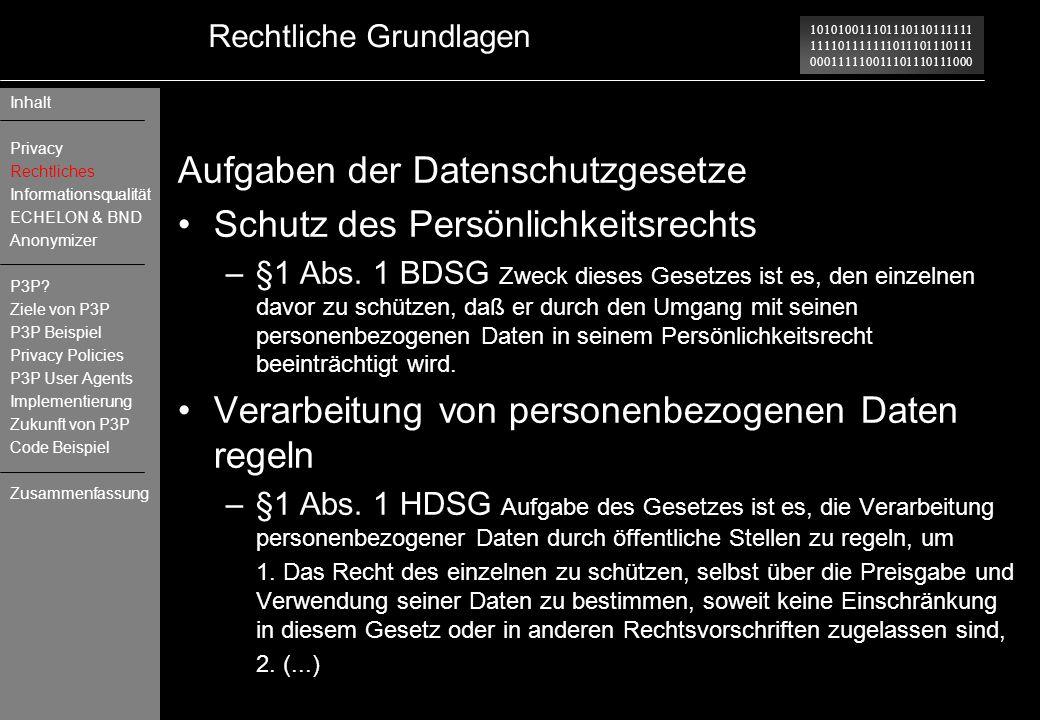 101010011101110110111111 111101111111011101110111 000111110011101110111000 Rechtliche Grundlagen Aufgaben der Datenschutzgesetze Schutz des Persönlich