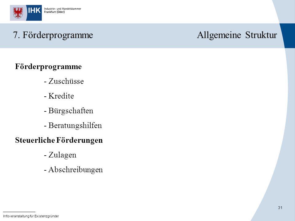 31 _______________ Infoveranstaltung für Existenzgründer 7. Förderprogramme Allgemeine Struktur Förderprogramme - Zuschüsse - Kredite - Bürgschaften -