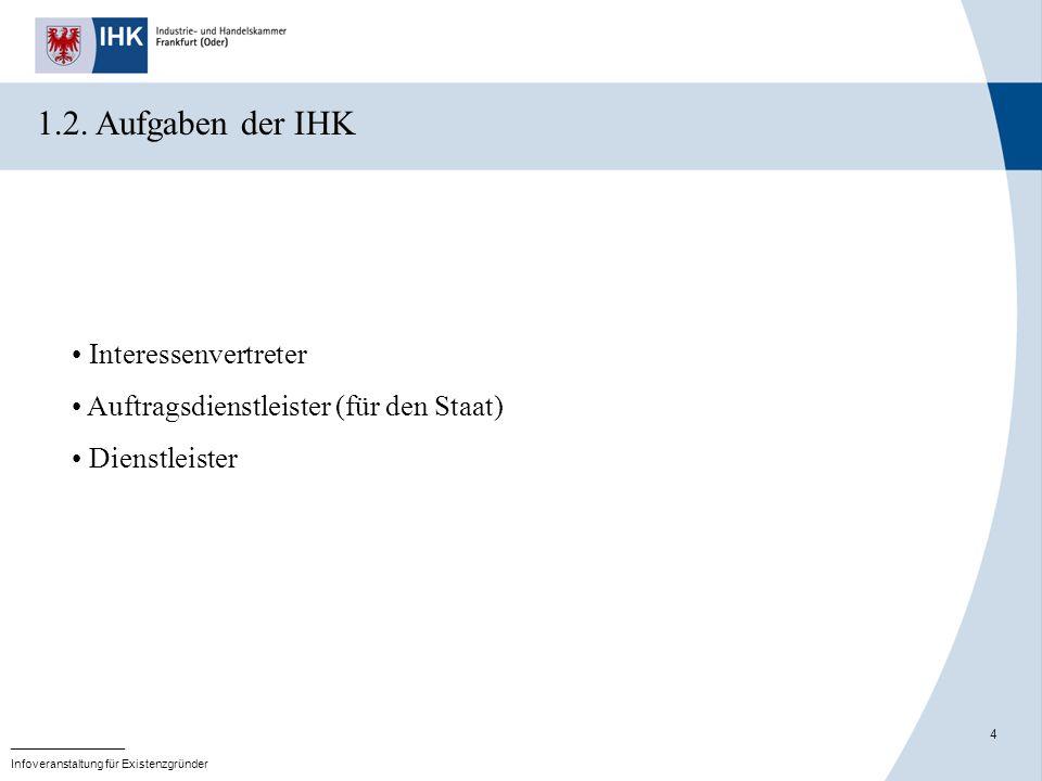 4 _______________ Infoveranstaltung für Existenzgründer 1.2. Aufgaben der IHK Interessenvertreter Auftragsdienstleister (für den Staat) Dienstleister