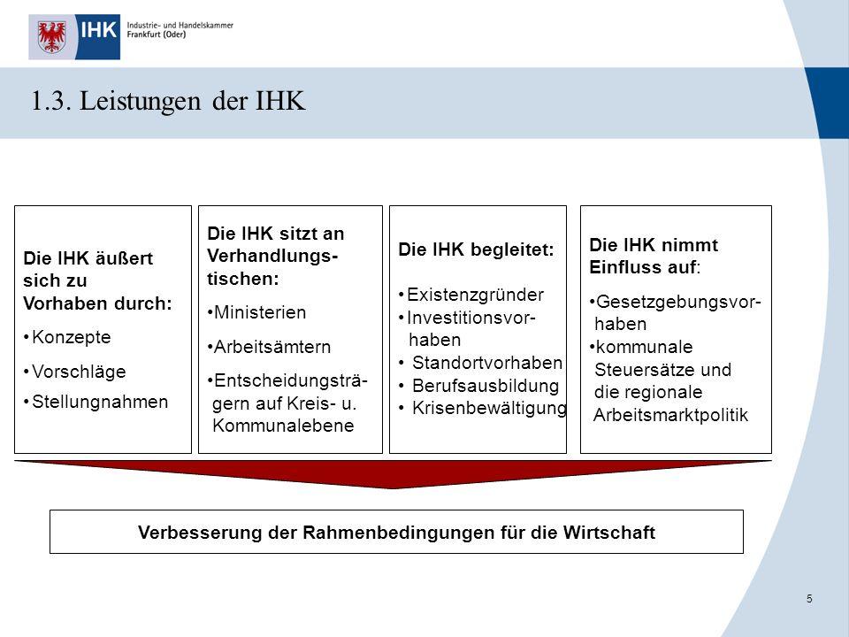 5 Die IHK äußert sich zu Vorhaben durch: Konzepte Vorschläge Stellungnahmen Die IHK sitzt an Verhandlungs- tischen: Ministerien Arbeitsämtern Entschei