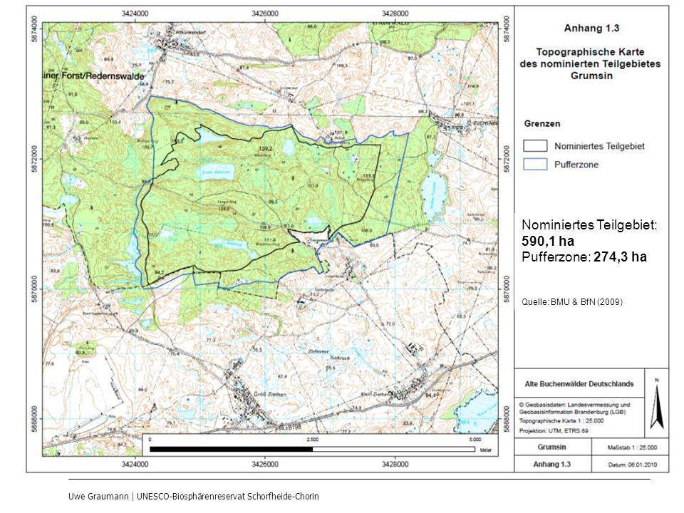 Uwe Graumann | UNESCO-Biosphärenreservat Schorfheide-Chorin Nominiertes Teilgebiet: 590,1 ha Pufferzone: 274,3 ha Quelle: BMU & BfN (2009)