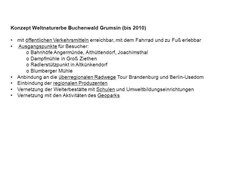 Konzept Weltnaturerbe Buchenwald Grumsin (bis 2010) mit öffentlichen Verkehrsmitteln erreichbar, mit dem Fahrrad und zu Fuß erlebbar Ausgangspunkte fü