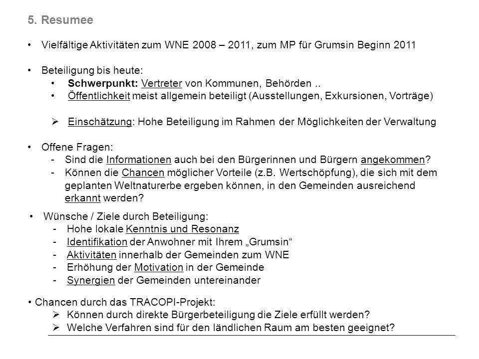 5. Resumee Vielfältige Aktivitäten zum WNE 2008 – 2011, zum MP für Grumsin Beginn 2011 Beteiligung bis heute: Schwerpunkt: Vertreter von Kommunen, Beh