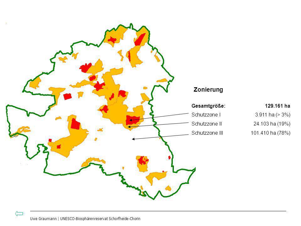 Uwe Graumann | UNESCO-Biosphärenreservat Schorfheide-Chorin Gesamtgröße:129.161 ha Schutzzone I3.911 ha (> 3%) Schutzzone II24.103 ha (19%) Schutzzone