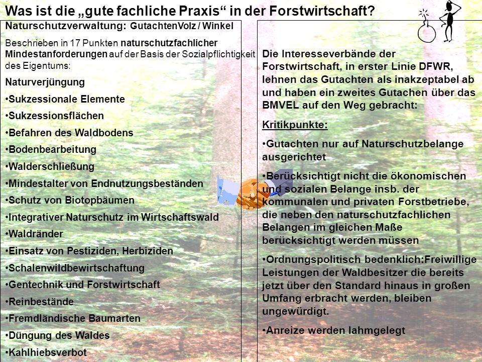 Resümee: Die Naturschutzverwaltung hat in den letzten 5 Jahren über Änderungen und Ergänzungen des Naturschutzrechts erheblich an Einfluss auf den Waldbesitz gewonnen Es ist gelungen, obwohl es das BundeswaldG als speziellere Regelung gibt, Bewirtschaftungsmaßstäbe im Naturschutzrecht zu verankern und Einfluß auf die Waldbewirschaftung auszuüben - Aufbau einer zweiten Gesetzesebene Dazu trägt auch die gemeinsame europäische Naturschutzpolitik (Natura 2000) bei, der der Waldbesitz in der EU derzeit auch nicht annähernd eine gleichwertige gemeinsame Politik entgegensetzen kann.