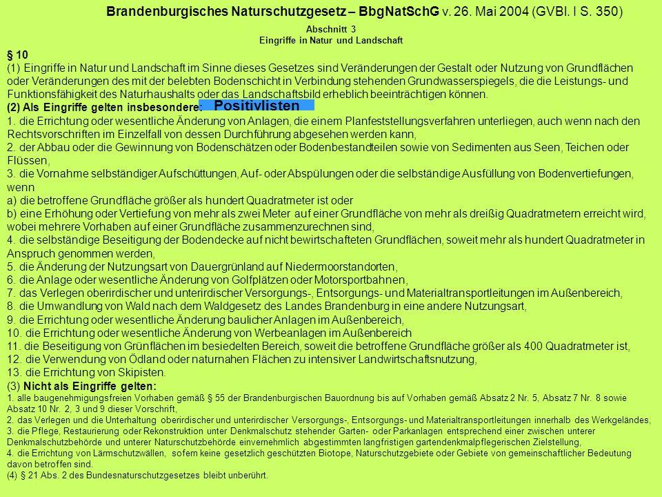 Brandenburgisches Naturschutzgesetz – BbgNatSchG v. 26. Mai 2004 (GVBl. I S. 350) Abschnitt 3 Eingriffe in Natur und Landschaft Positivlisten § 10 (1)