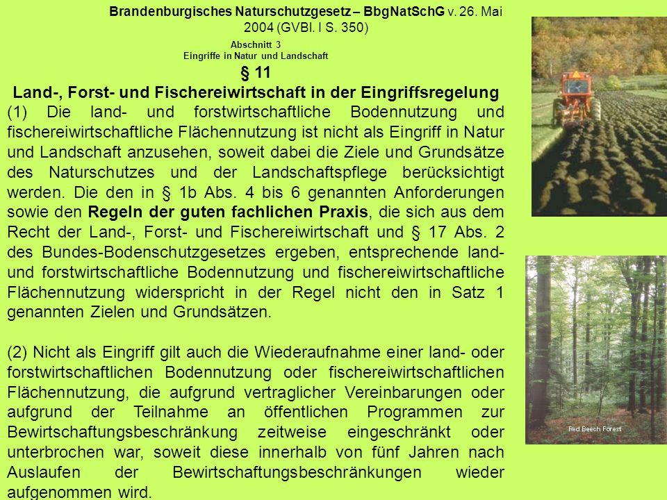 Brandenburgisches Naturschutzgesetz – BbgNatSchG v. 26. Mai 2004 (GVBl. I S. 350) Abschnitt 3 Eingriffe in Natur und Landschaft § 11 Land-, Forst- und