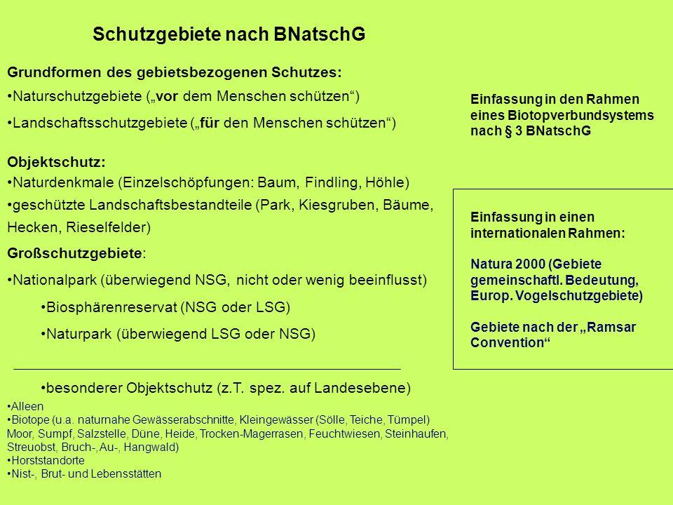 Schutzgebiete nach BNatschG Grundformen des gebietsbezogenen Schutzes: Naturschutzgebiete (vor dem Menschen schützen) Landschaftsschutzgebiete (für de