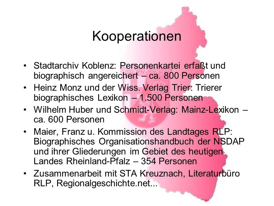 Kooperationen Stadtarchiv Koblenz: Personenkartei erfaßt und biographisch angereichert – ca.