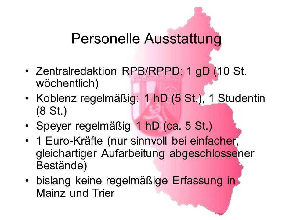 Personelle Ausstattung Zentralredaktion RPB/RPPD: 1 gD (10 St.