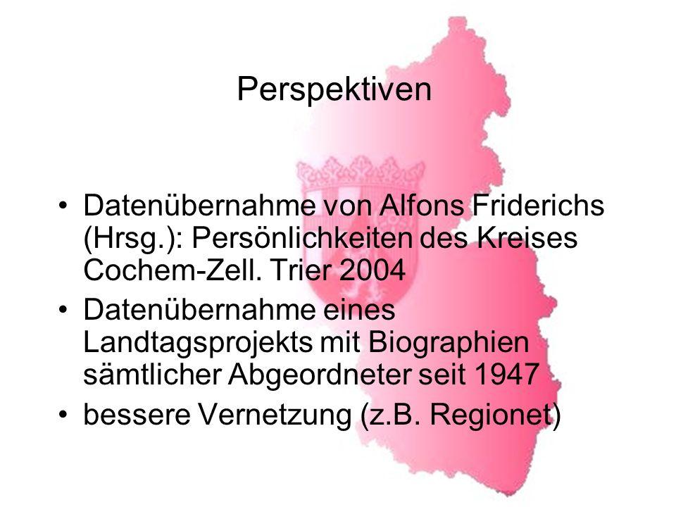 Perspektiven Datenübernahme von Alfons Friderichs (Hrsg.): Persönlichkeiten des Kreises Cochem-Zell.