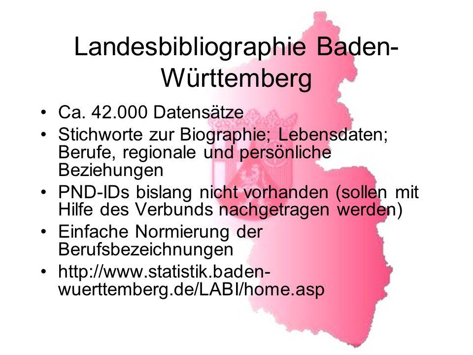 Landesbibliographie Baden- Württemberg Ca.